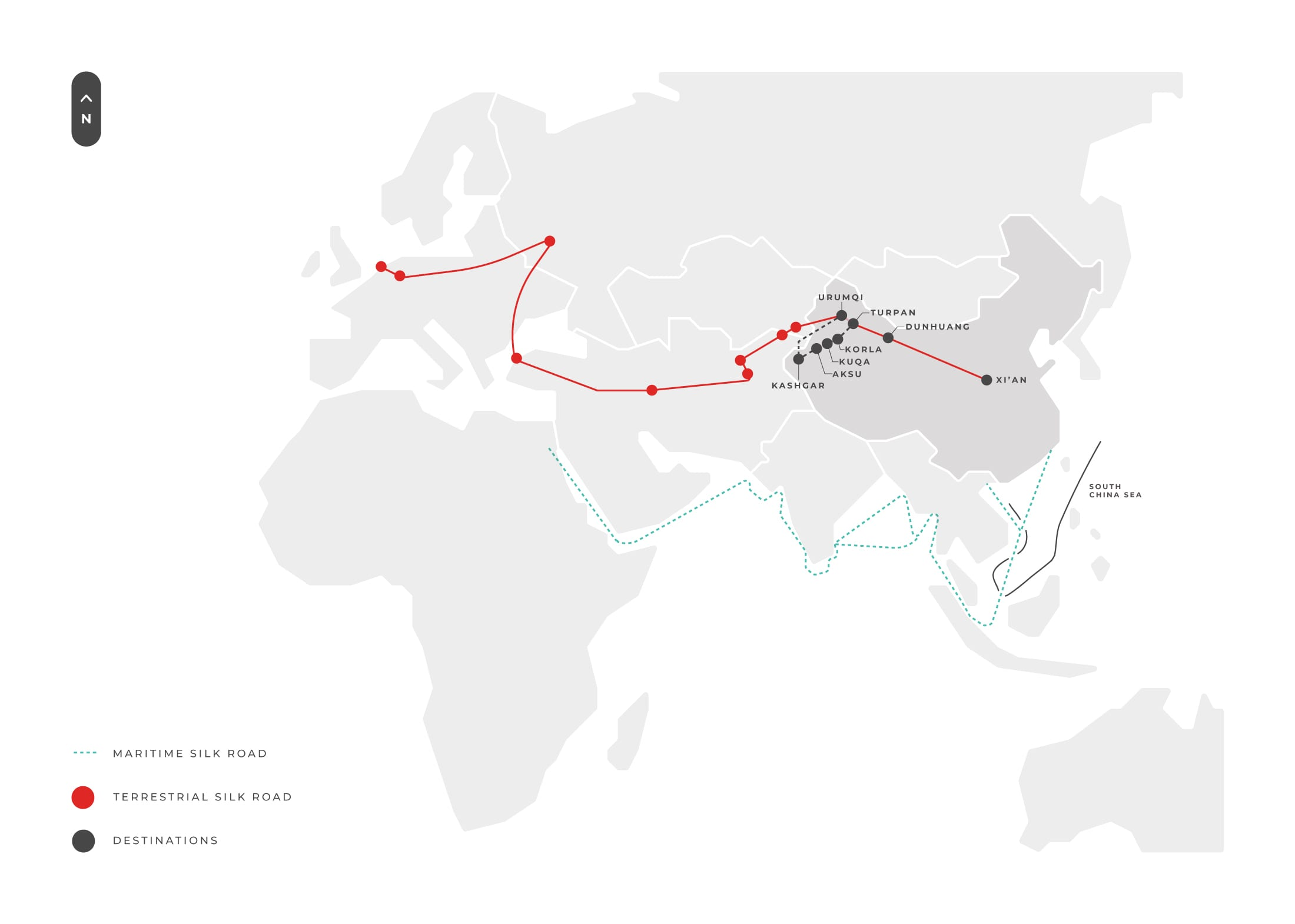 Silk Road Tour Map Glory Of Silk Road [north Track]