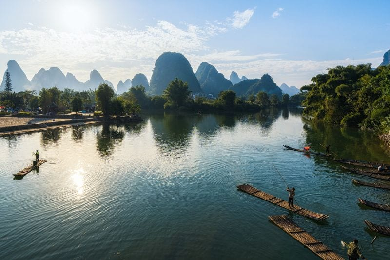 Enjoy a leisurely cruise along the Li River
