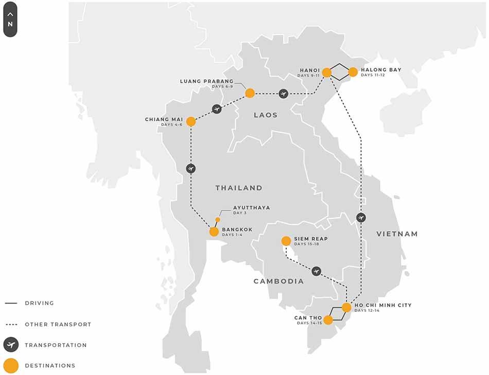6 Indochina 18 Days Thailand Laos Vietnam And Cambodia Tour