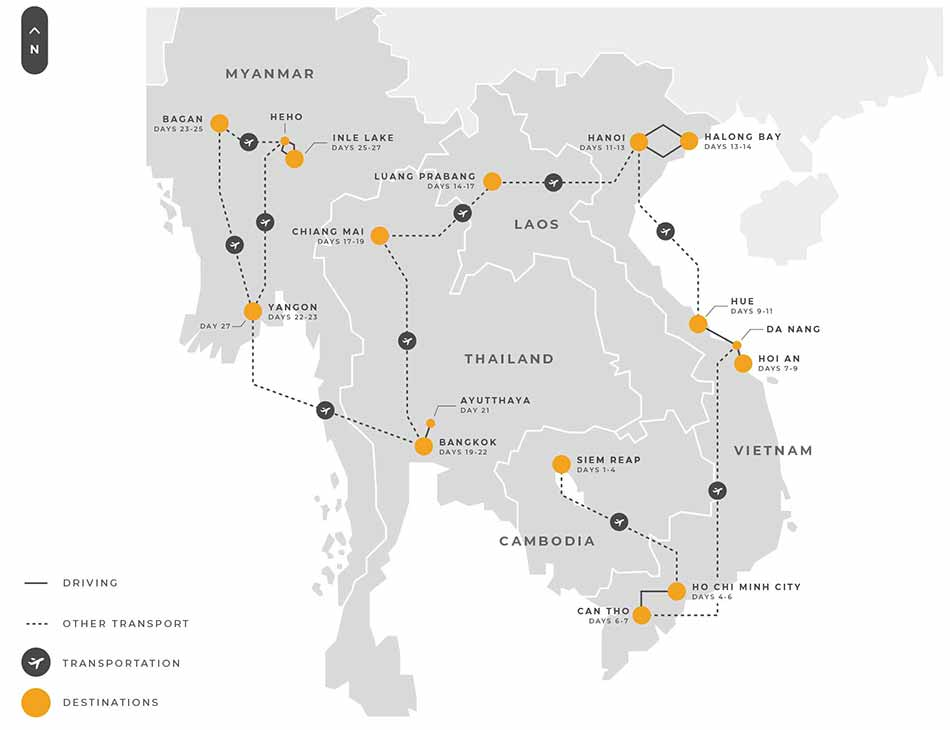 9 Indochina 27 Days Multi Country Indochina Tour