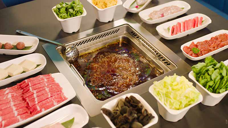 Sample Haidilao hotpot at the flagship Haidilao hotpot restaurant, Beijing