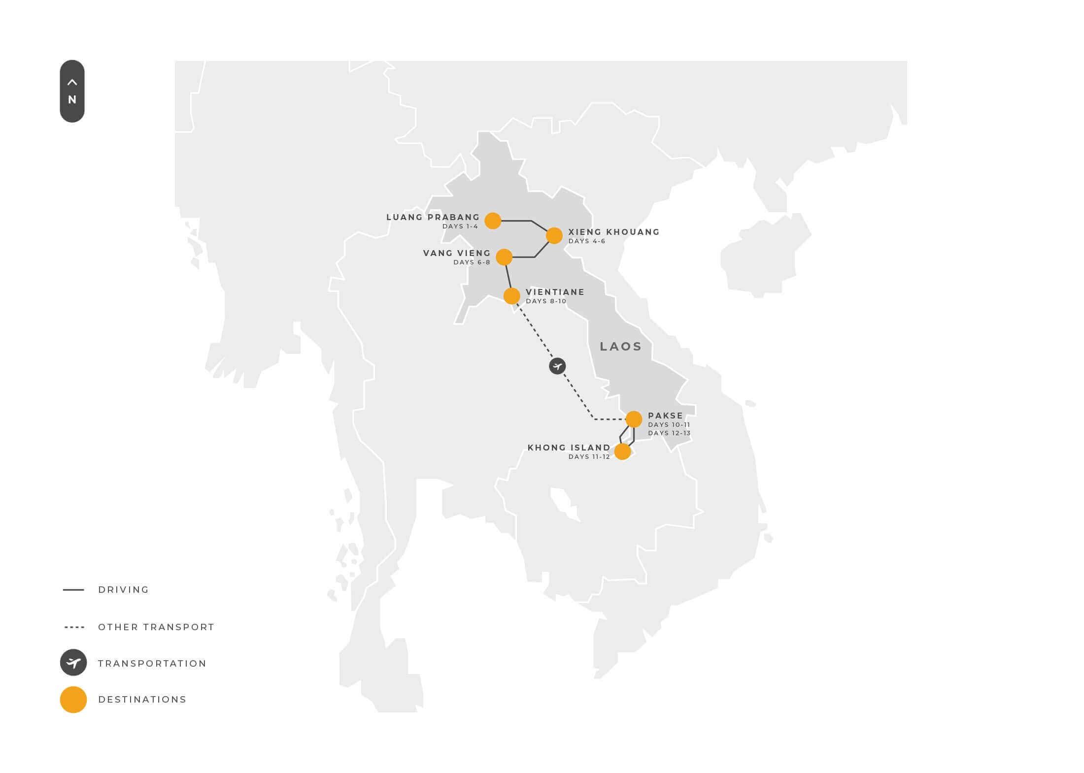 Laos13 Days Luangprabang Xiengkhouang Vangvieng Vientiane Pakse K